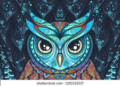 Owl with tribal ornament. Hand drawn vector illustration for tatoo, t-shirt, poster printing.