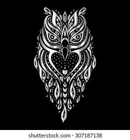 Owl. Tribal pattern. Polynesian tattoo style. Vector illustration.