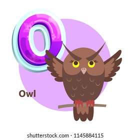 Owl vector applique for O vowel spelling. Isolated wise bird for teaching alphabet to children. Crisscross-row letter with howlet cartoon character.