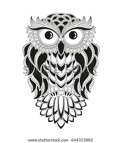 Owl Vector Black White Illustration Decor Stock Vector Royalty Free