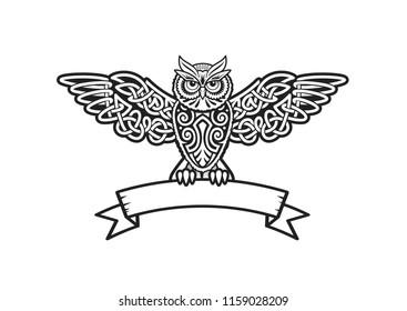 Owl vector illustration. Celtic knot heraldic ribbon stock image.