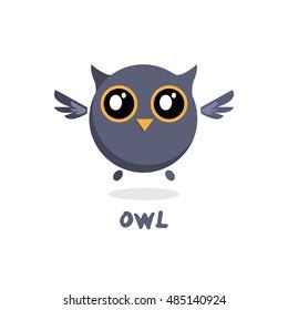 Owl vector illustration. Owl cute cartoon character. Bird animal. Flat vector design on white background.