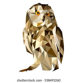 Owl vector polygon geometric. Tattoo creative decoration logo artwork polygonal owl. Abstract bird design symbol nature triangle graphic. Trendy zoo drawing portrait.