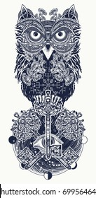 Owl, vintage crossed keys and all seeing eye in ethnic celtic style tattoo and t-shirt design