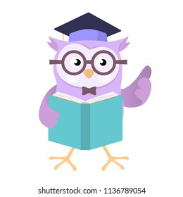 Owl wearing education cap holding book, isolated on white background, for education concept - Vector Cartoon Illustration.