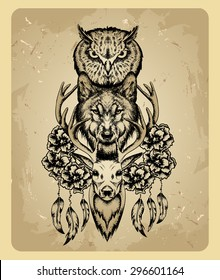 owl, wolf and deer in the style of tattoo