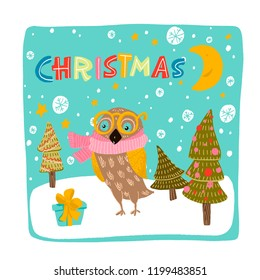 owl in yellow glasses, pink scarf stands next to a blue gift with a yellow bow. stylized Christmas trees decorated with balls and garlands. snowflakes, stars, moon, Christmas.