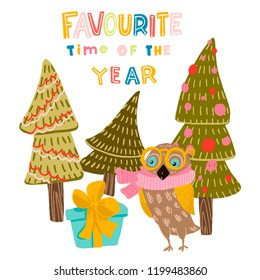 owl in yellow glasses, pink scarf stands next to a blue gift with a yellow bow. stylized Christmas trees decorated with balls and garlands. lettering favorite time of year