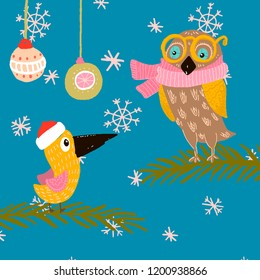 owl in yellow glasses, pink scarf and a bird in a winter hat red, sitting on the branches , decorated with Christmas balls. background snowflakes, elegant Christmas balls