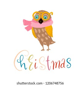 owl in yellow glasses, pink scarf. Christmas inscription-color lettering