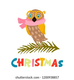 owl in yellow glasses, pink scarfsitting on the branch. color lettering - christmas. vector