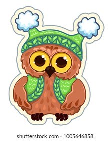 Owlet in knitted clothes. Sticker vector illustration. Isolated on white.