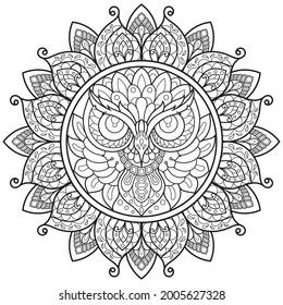 Owl,fleur de Mandala pour livre de coloriage pour adultes.