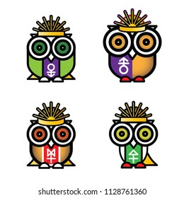 owls, cartoon, art, vector,