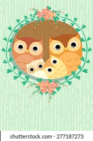 owls family in hollow of tree