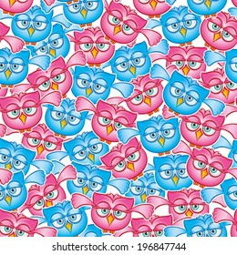 Owls fly seamless pattern