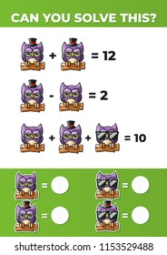 Owls with Hats and Glasses. A math game for kids.