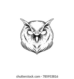 the owl's head with its leaf beside it, the unique design, the illustrated vector