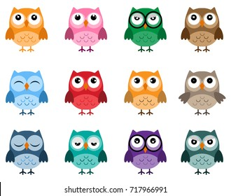 Owls icons, bright owls with different emotions