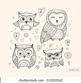 Owls isolated. Cute birds. Set collection. Vector. Coloring book page for adult. Zentangle forest animal. Hand drawn artwork. Illustration, gift greeting card, branding, logo label. Beige, black color
