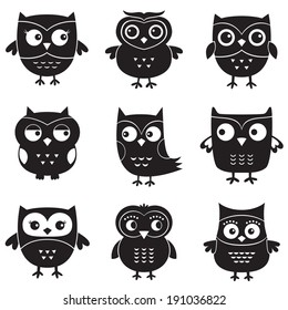 Owls, isolated vector design elements