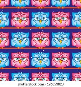 Owls, seamless pattern