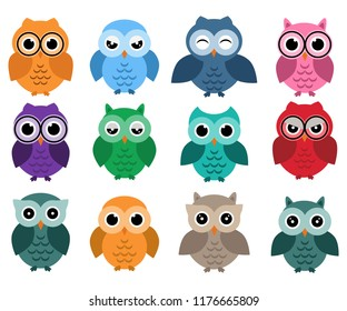 Owls set, different owls with emotions