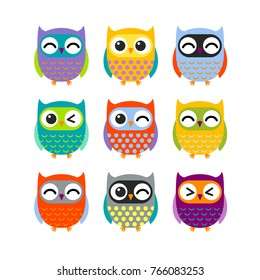 Owls set. Isolated Colorful vector illustration.