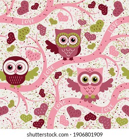 Owls in spring seamless pattern in flat style. Owls on a tree in a spring forest. Birds waiting for love. Vector background for fabric, textile, wallpaper, posters, gift wrapping paper, napkin