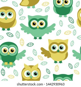 Owls in the summer seamless pattern. Owls and leaves. Vector background for fabric, textile, wallpaper, posters, gift wrapping paper, napkin, pajamas. Print for children, baby