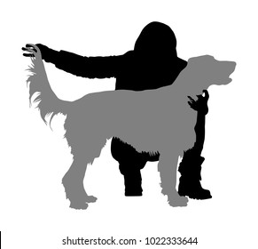 Owner girl keeps the Golden Retriever dog on the stage. Irish red Setter champion vector silhouette illustration isolated. Dog show exhibition.