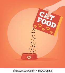 Owner hand giving cat food. Vector flat cartoon illustration