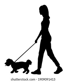 Owner handsome girl walking dog vector silhouette illustration, isolated on white background. Maltese dog. Lady with cute puppy outdoor. Woman recreation walk with little friend after work. Relax time