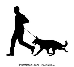 Owner keeps the dog on the leash. German Shepherd running, champion dog vector silhouette illustration. Dog show exhibition. Finder detect explosives and drugs. Rescue activity dog for finding survive