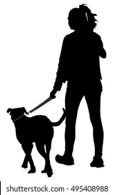 Owner lady and dog walking in the city. Woman walking with dog vector silhouette illustration. isolated on white background.