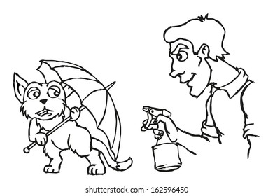 Owner punishing your cat. People sprinkles water in cat. The cat is hiding behind an umbrella. Vector illustration.