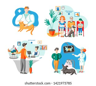 Owners with pets in vet clinic illustrations set. Woman holding cat, sitting in hospital waiting room. Guy with exotic bird at medical center receptionist desk. Veterinarian examining domestic animal