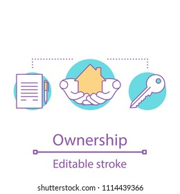 Ownership concept icon. Real estate idea thin line illustration. Private property insurance. Vector isolated outline drawing. Editable stroke