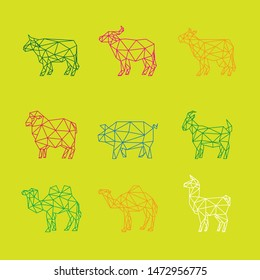OX BUFFALO COW SHEEP PIG GOAT CAMEL LLAMA FARM ANIMAL LINE LOW POLY LOGO ICON SYMBOL SET. TRIANGLE GEOMETRIC POLYGON