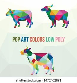 OX BUFFALO POP ART COW LOW POLY LOGO ICON SYMBOL SET. TRIANGLE GEOMETRIC POLYGON
