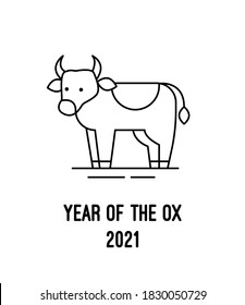 Ox bull linear icon. Symbol of 2021 in the new year. Vector flat image of a cow. Outline style sign for web design, logo and mobile apps.