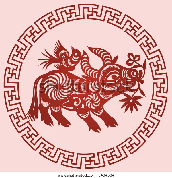 OX Chinese Zodiac Sign in paper cutting style (Vector)