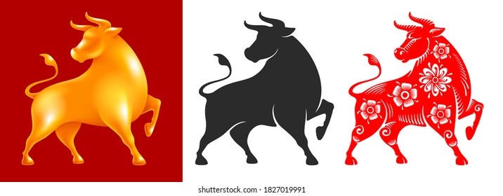 Ox, Chinese zodiac symbol of new 2021 year. Set consists of bulls in different styles. Golden volumetric statuette, silhouette, painted in chinese style with floral ornate. Vector illustration.