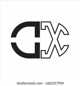 OX Letter logo monogram with oval shape negative space design template white background