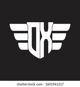 OX Logo monogram with emblem and wings element design template