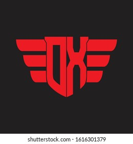 OX Logo monogram with emblem and wings element design template on red colors