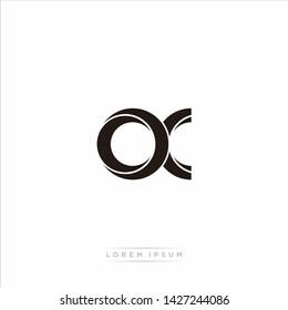 ox o x Initial Letter Split Lowercase Modern Monogram linked outline rounded logo