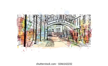 Oxford city in central southern England. Hand drawn sketch illustration in vector.
