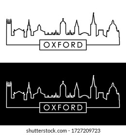 Oxford skyline. Linear style. Editable vector file.