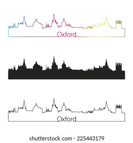 Oxford skyline linear style with rainbow in editable vector file